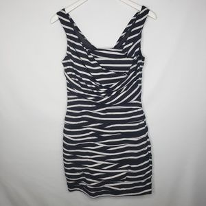 Express Black White Striped Rouched Dress